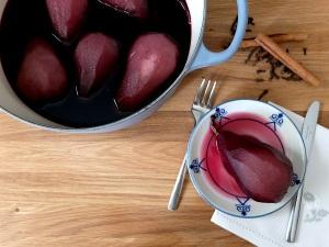 receta de las peras al vino